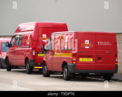 Royal Mail vans parked at Eastleigh depot during strike action in 2007 - Stock Image