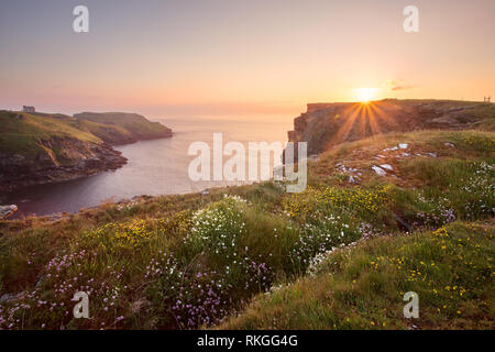 Sunset in early summer Tintagel Cornwall Uk - Stock Image