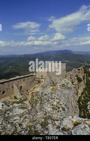 Chateau Peyrepertuse. Cathar Castle. Duilhac-sous-Peyrepertuse. Aude. France - Stock Image