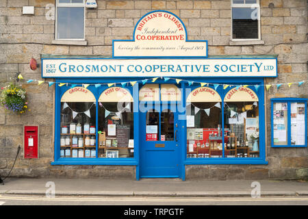 Britain's oldest independent cooperative society, Grosmont Co-operative Society shop, North Yorkshire, England,UK - Stock Image