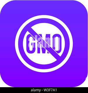 Stop GMO icon digital purple - Stock Image