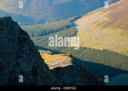 Looking towards  from the summit of Hopegill Head at Sunset in the Lake District - Stock Image