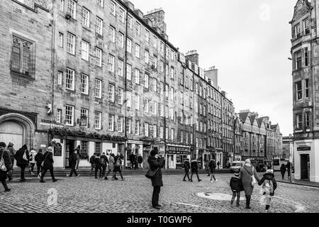 EDINBURGH, SCOTLAND - FEBRUARY 9, 2019 - The Royal Mile (Lawnmarket) is the heart of Edinburgh's Old Town - Stock Image