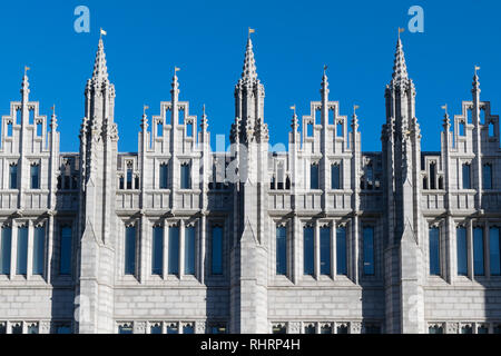 Marischal College Aberdeen, architectural detail of granite pinnacles - now the headquarters of Aberdeen City Council - Stock Image