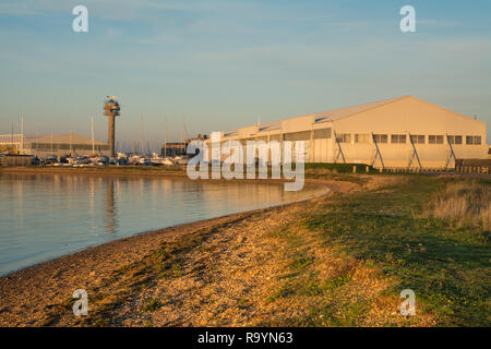Calshot Activity Centre in the historic hangars on Calshot Spit by the Solent in Hampshire, UK - Stock Image