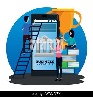 businesswomen and businessman with smarphone and books with prize - Stock Image