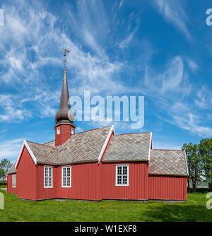 Flakstad church, Ramberg, Lofoten islands, Norway - Stock Image