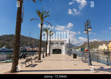 Cartagena Murcia Spain view in the port with the naval museum - Stock Image