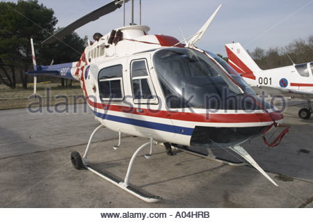 Pula air show 2005 Croatian Air Force Bell 206B-3 JetRanger III basic training helicopter - Stock Image