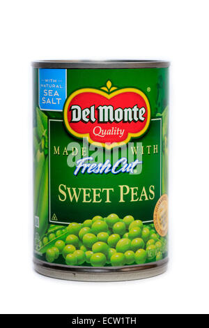 Del Monte Foods Canned Fresh Cut Sweet Peas - Stock Image
