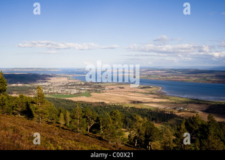 Cromarty Firth, Invergordon, Cromarty and oil rigs from Fyrish Monument, Fyrish Hill in Easter Ross - Stock Image
