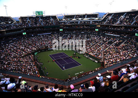 Indian Wells, California, USA. 12th March 2017. A wide angle view during Novak Djokovic (SRB) against Kyle Edmund - Stock Image
