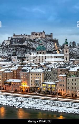 Old town skyline at dusk, Salzburg, Austria - Stock Image