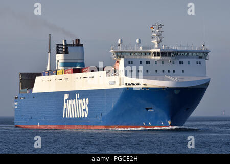 recently lengthened RoRo-Vessel Finnsky inbound for Kiel - Stock Image