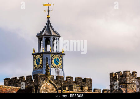 Clock tower and weather vane at Knole Park, Kent, UK - Stock Image