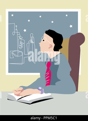 Pensive businessman in the night.  Hardworker businessman sitting on chair in the office room. - Stock Image