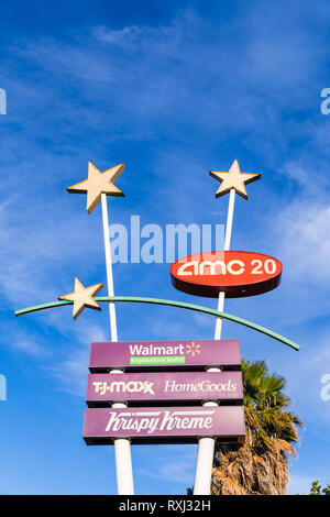 AMC 20, Walmart, T.J. Maxx, HomeGoods, Krispy Kreme, large sign with stars; Santa Clara, California, USA - Stock Image