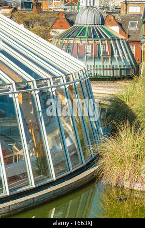 Antiquated skylights on Castle hill, providing to light to Castle Mall Shopping Centre in Norwich, East Anglia, England, UK. - Stock Image