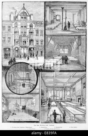 Working Lads Institute Whitechapel London circa 1885 - Stock Image