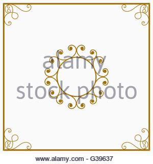 Round yellow and gold a retro the card - Stock Image