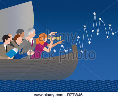 Business people lost at sea finding the way forward - Stock Image