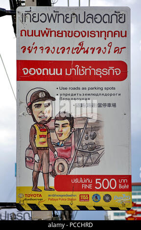 Thailand police sign advising mobile hawkers not to park for trade in this area or face a fine - Stock Image