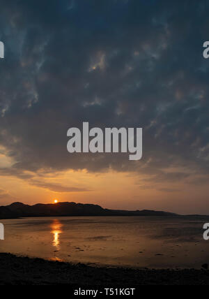 Sunset over Loch Ewe at Poolewe, Scotland - Stock Image