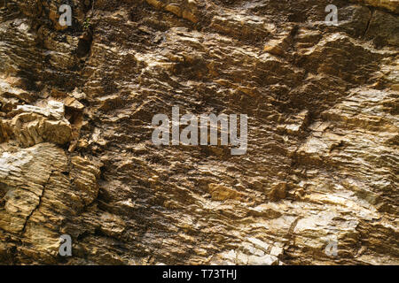 Abstract background with golden color mineral rock texture close up copy space - Stock Image
