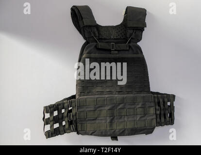 Bullet proof vest for security forces at display - Stock Image