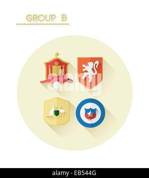 Group b with country crests - Stock Image