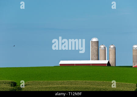 Farm fields with a red barn, grain silos, and a country road in Wisconsin, not far from the city of Oshkosh. - Stock Image