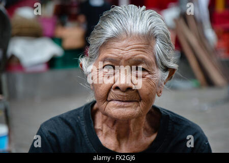 Beautiful Smile of a Balinese Old Woman - Stock Image