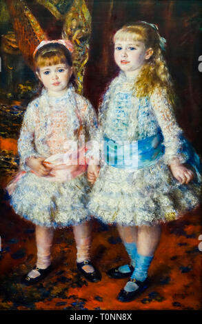 Pierre Auguste Renoir, Pink and Blue, portrait painting, 1881 - Stock Image