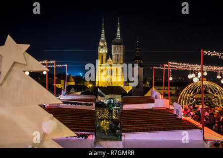 Zagreb Advent at night, view to Zagreb Cathedral - Stock Image