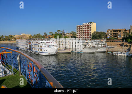 Cruise ships berthed at Luxor on the River Nile, Egypt, Africa - Stock Image