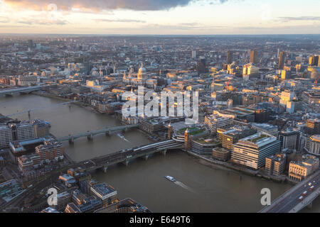 View over River Thames & St Pauls, London, UK - Stock Image