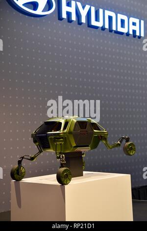 Prototype model of Hyundai Elevate, a robotic vehicle designed to navigate & climb over obstacles in emergencies, at CES trade show in Las Vegas, USA - Stock Image