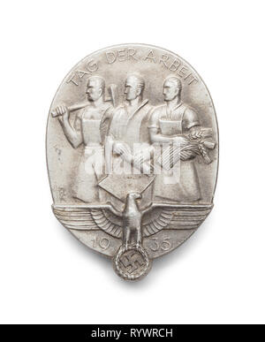 World War Two German Workers Medal Isolated on White. - Stock Image