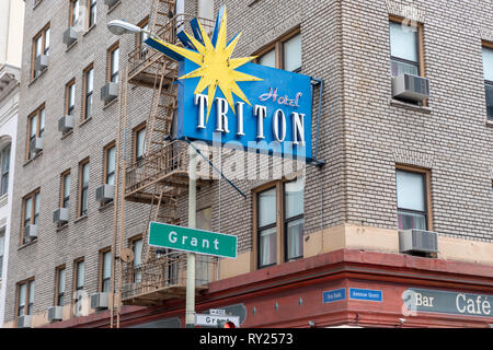 Hotel Triton, Grant Avenue, San Francisco, California, USA - Stock Image