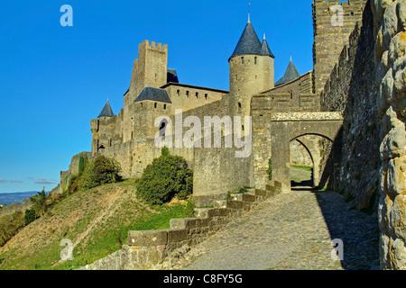Carcassonne West City Walls - Stock Image