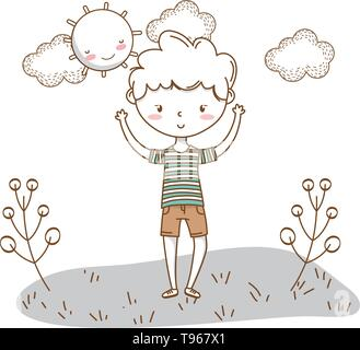 Stylish boy blushing cartoon outfit shorts stripped tshirt hands up  nature clouds background frame and sun vector illustration graphic design - Stock Image