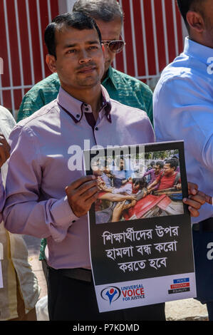 London , UK. 6th Jul 2018. A protest in Altab Ali Park, Whitechapel by Universal Voice for Justice, UK deplored the attack on the Quota Reform Movements leaders and general students at University of Dhaka. Protests in Bangladesh in April had called on the government to change the recruitment system for government posts that mean only 44% of posts are selected on merit. Credit: Peter Marshall/Alamy Live News - Stock Image