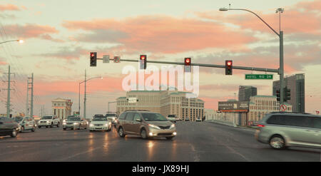 Las Vegas at intersection  with evening sky - Stock Image