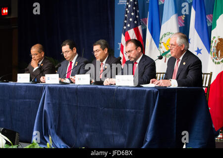 U.S. Secretary of State Tillerson addresses reporters at a joint press availability with his counterparts from Mexico, - Stock Image