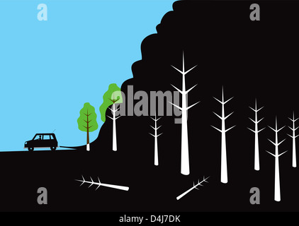 Illustration of car polluting forest - Stock Image