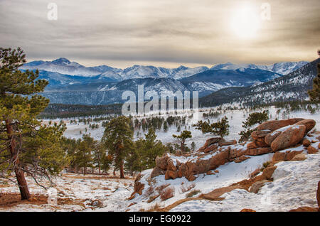 Winter Sunset Rocky Mountain National Park, landscape - Stock Image