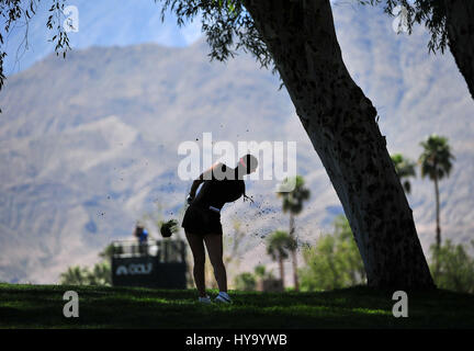 Rancho Mirage, California, USA. 2nd Apr, 2017. Michelle Wie hits her 2nd shot on the 1st hole during the final round - Stock Image