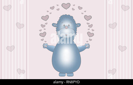 cute illustration design of blue fantasy animal creature, with earts, on pastel pink background - Stock Image