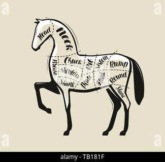 Diagram guide for cutting meat, butcher shop. Horse vector illustration - Stock Image
