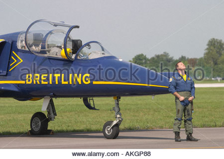 Rivolto Italia Air show 2005 civil aerobatic team Breitling Albatros two seater - Stock Image